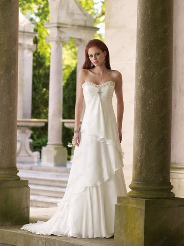 Satin Strapless Sweetheart Bodice Column Wedding Dress - Vuhera.com