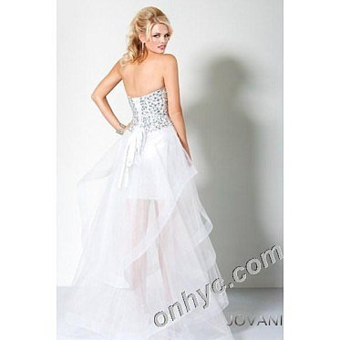A-Line Strapless Jewel Organza Asymmetrical Length White Party Dress