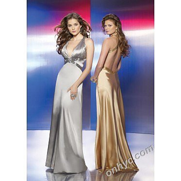 Sheath V-Neck Silk-Like Satin Beading Silver Long Prom Dress