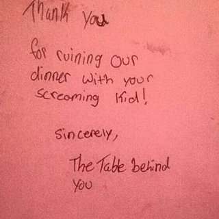 Diners Write Letter to Mom of Baby Who Ruined Their Dinner