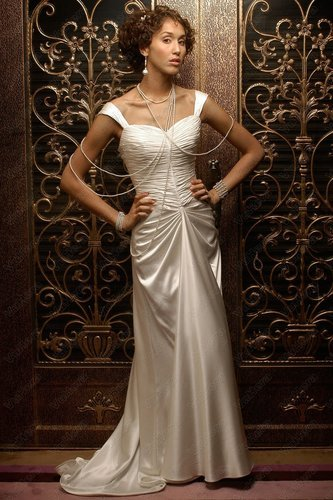 Off-the-Shoulder Ruched Bodice Sheath Wedding Dress - Vuhera.com