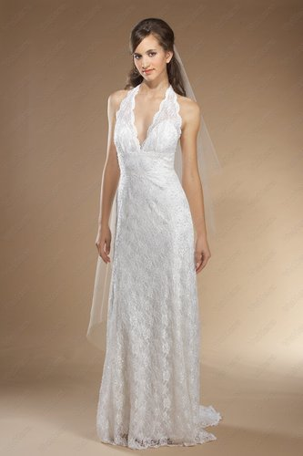 Peau d'ange Halter V-Neckline Wedding Dress - Vuhera.com