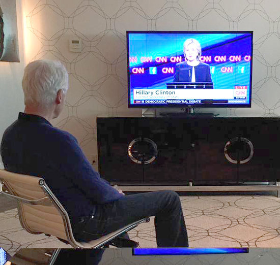 Bill Clinton Watching Hillary Democratic Debate