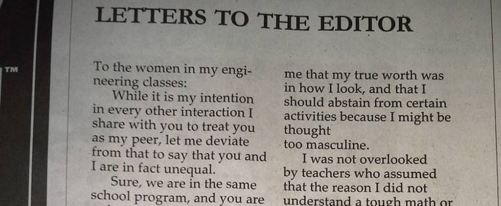 You Have to Read an Engineer's Note About Why Women Aren't His Equals