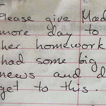 Funny Homework Excuse Note