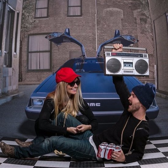 Aaron Paul and His Wife in Back to the Future Photo