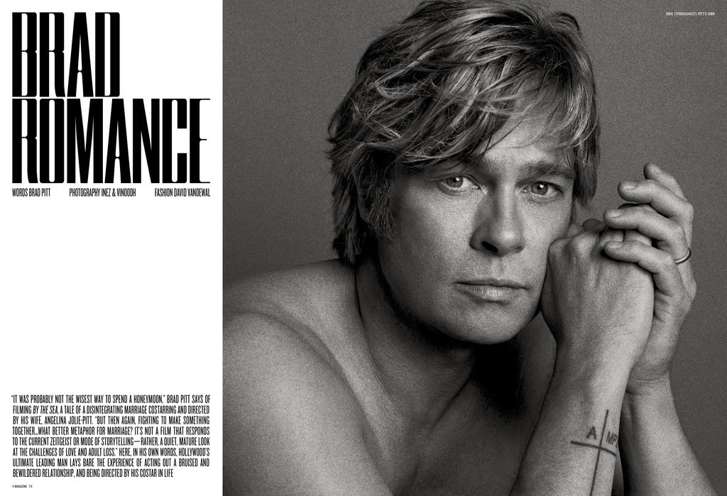 Brad Pitt Benjamin Buttoned So Hard For His V Magazine Shoot