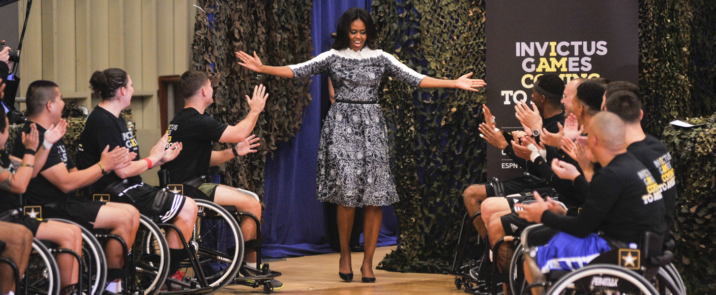 Michelle Obama Dresses Like Fashion Royalty For an Encounter With Prince Harry