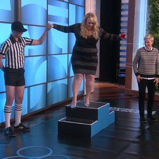 Rebel Wilson Obstacle Course in Heels on Ellen Video