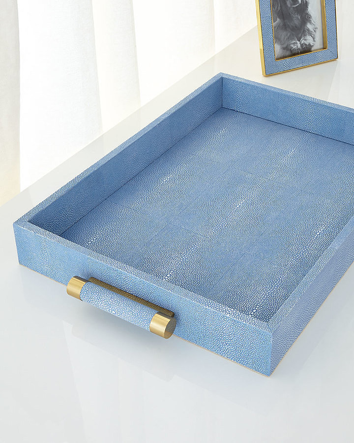 For the Hostess With the Mostess: Aerin Blue Shagreen Rectangular Tray