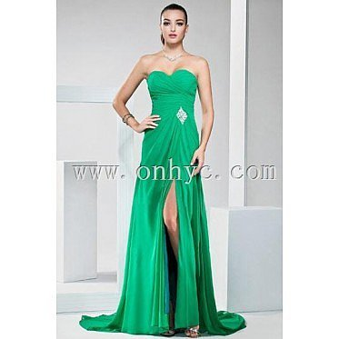 Sexy Strapless Side Slit Green Ruffles Floor Length Formal Dress