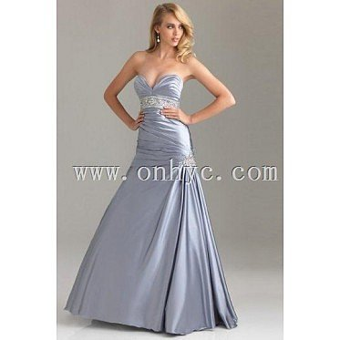 Beaded Ruched Sweetheart Satin Trumpet Formal Dress