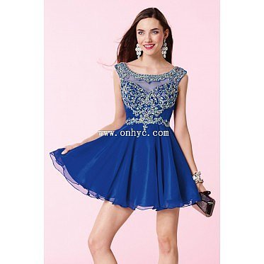 New Design Bateau Natural Mini Chiffon Royal Blue Sleeveless Graduation Dress with Beading