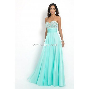 Simple Sweetheart Natural Floor Length Chiffon Light Sky Blue Sleeveless Prom Dress with Appliques