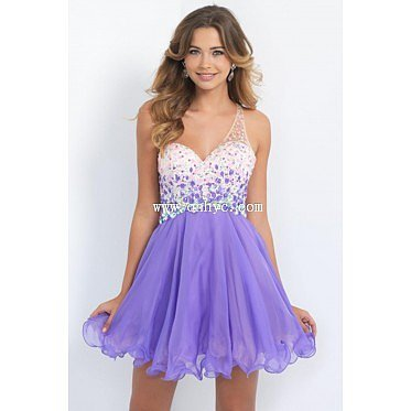 Fancy One shoulder Natural Mini Organza Purple Sleeveless Homecoming Dress with Crystal