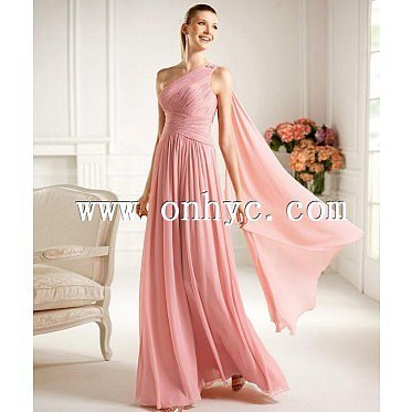 Stylish Empire One Shoulder Floor Length Hot Pink Evening Dress