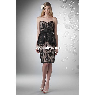 Fabulous Sheath Column Sweetheart Knee Length Lace Black Bridesmaid Dress