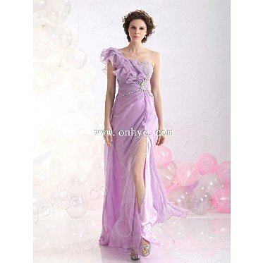 Casual Sheath Column One Shoulder Brush Train Chiffon Purple Evening Dress L