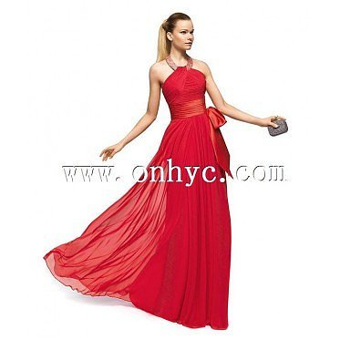 Charming Empire Jewel Floor Length Red Evening Dress