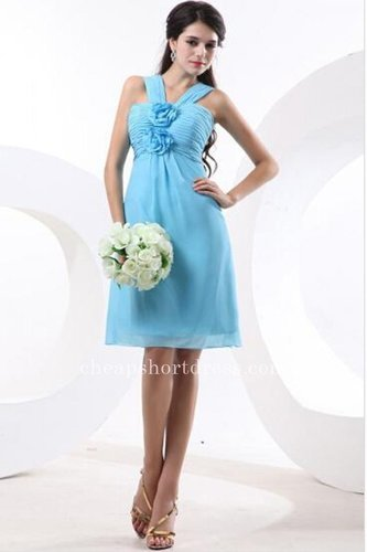Cheap Two Straps Blue Bridesmaid Dresses
