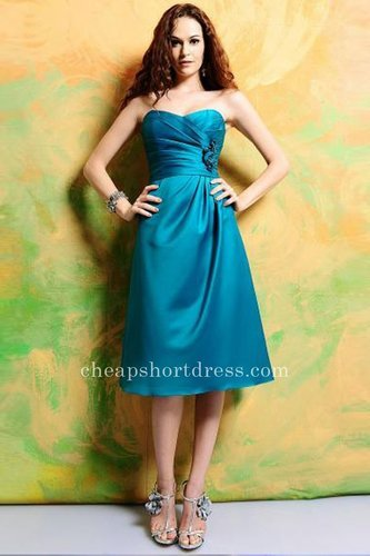 Cheap Strapless Blue Satin Bridesmaid Dress