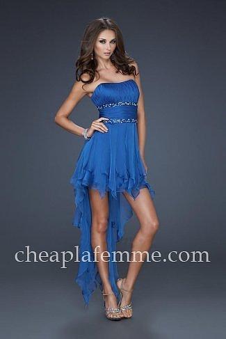 Sapphire Blue Short La Femme Style 15087 Hi Low Prom Dress Sale