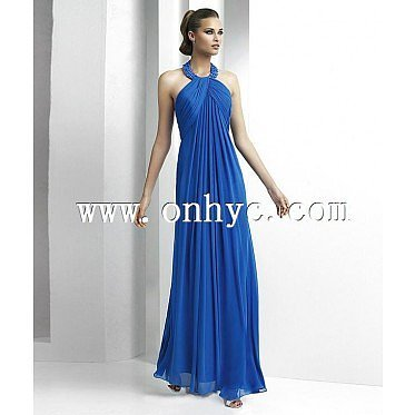 Graceful Sheath Column Tank Top Floor Length Blue Evening Dress