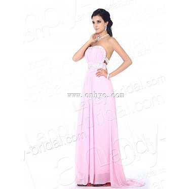 Modest Empire Strapless Brush Train Chiffon Pink Formal Evening Dre