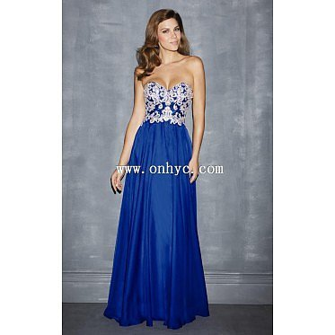 Glorious Sheath-Column Sweetheart Natural Train Chiffon Royal Blue Sleeveless Open Back Evening Dress with Embroidery