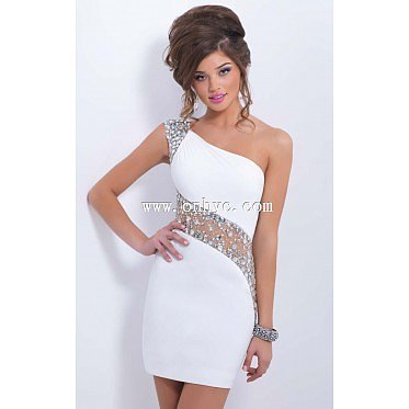 Sparkle Sheath-Column One Shoulder Natural Short-Mini Elastic Satin White Sleeveless Backless Cocktail Dress with Crystals