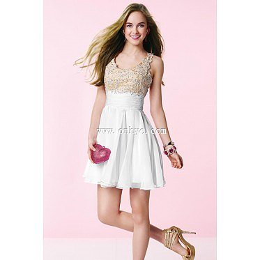 Hot Selling Cowl Natural Mini Chiffon White Sleeveless Graduation Dress with Appliques