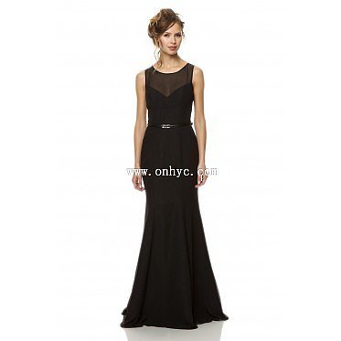 Classic Trumpet-Mermaid Bateau Natural Train Chiffon Black Sleeveless Key Hole Evening Dress with Sashes
