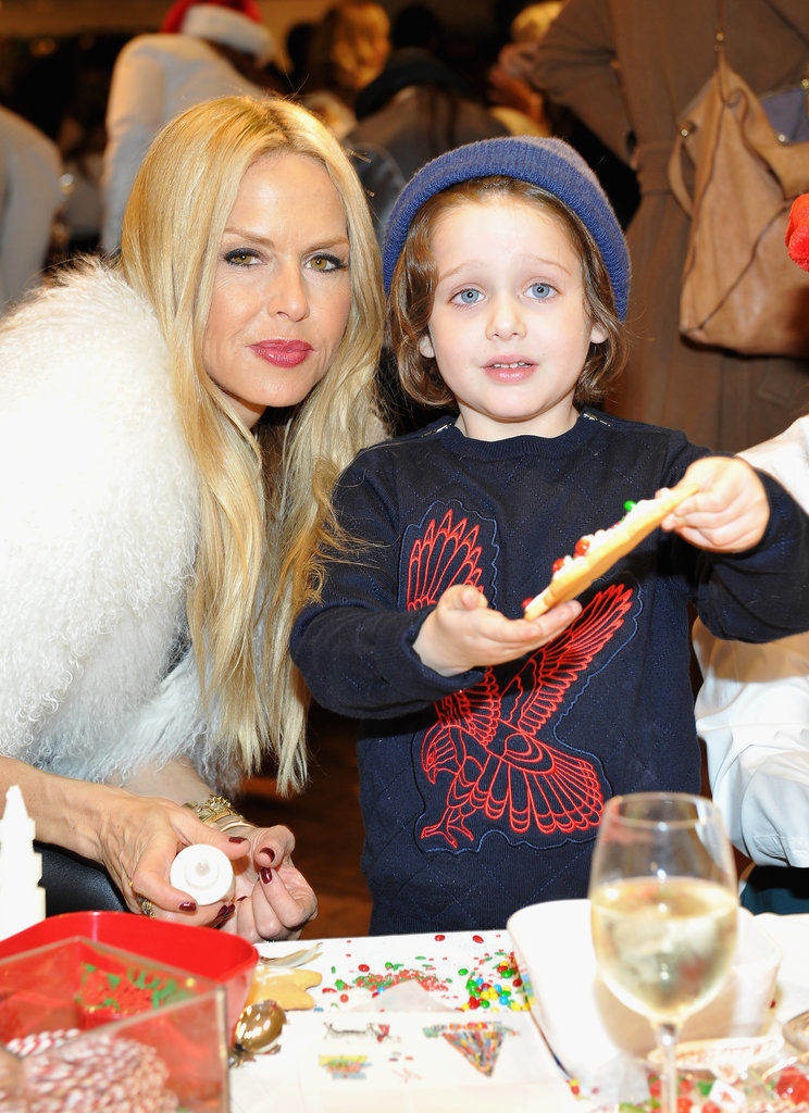Rachel Zoe and her son Skyler Berman decorated Christmas-tree cookies.