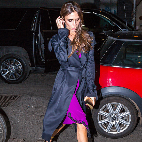 Victoria Beckham Wearing a Knit Purple Dress