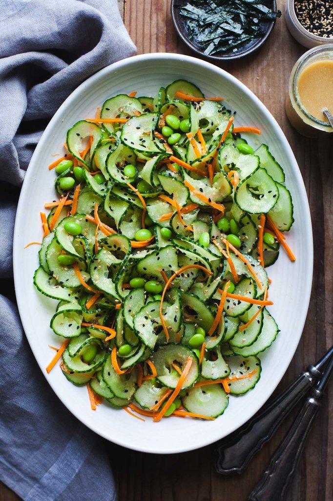 Sesame Ginger Miso Cucumber Salad With Edamame