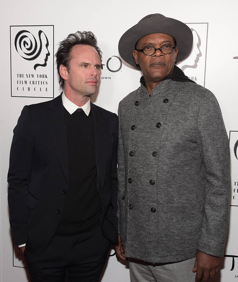Samuel L. Jackson and Walton Goggins at New York Film Critics Circle Awards to accept award for The Hateful Eight