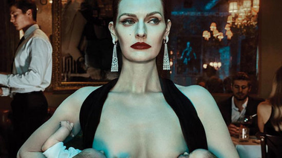 Model Lydia Hearst Breastfeeds Someone Else's Twins in Bizarre New Ad Campaign
