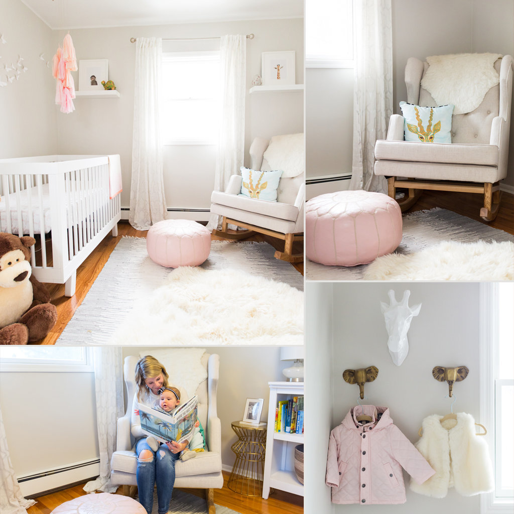 Simple and bright nursery for a baby girl popsugar moms - Simple baby room ...