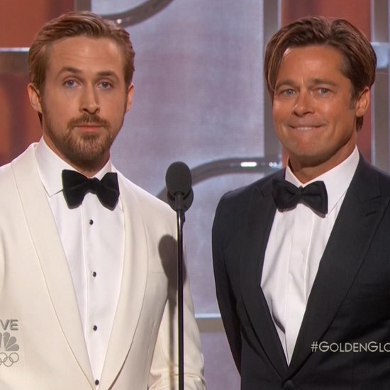 Ryan Gosling and Brad Pitt presenting at the Golden Globes