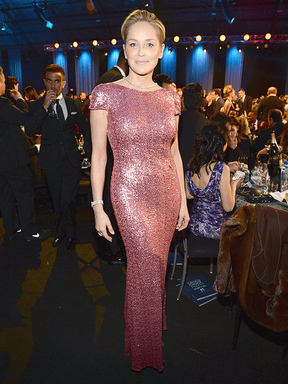 Sharon Stone, 57, Sizzles in Sparkling Pink Bodycon Gown