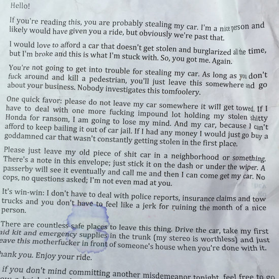 Woman Writes Note to Person Stealing Her Car