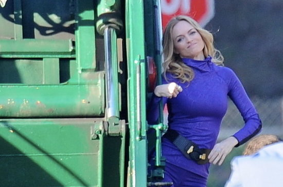 Heather Graham Rides A Garbage Truck, Remains Perfect