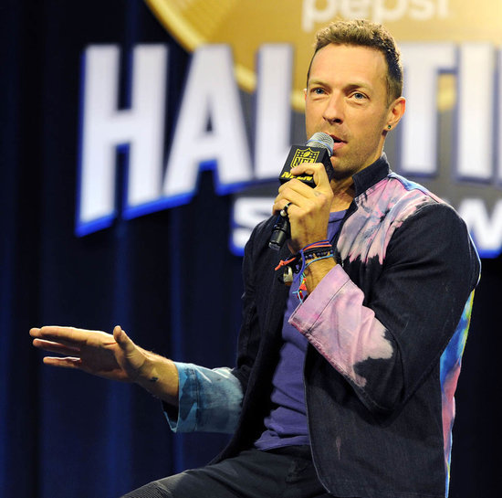Chris Martin at Super Bowl halftime press conference with Coldplay as it's rumoured Rihanna and Justin Timberlake will show up