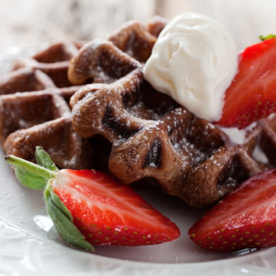 Double Chocolate Waffles Are the Ultimate Valentine's Day Breakfast in Bed