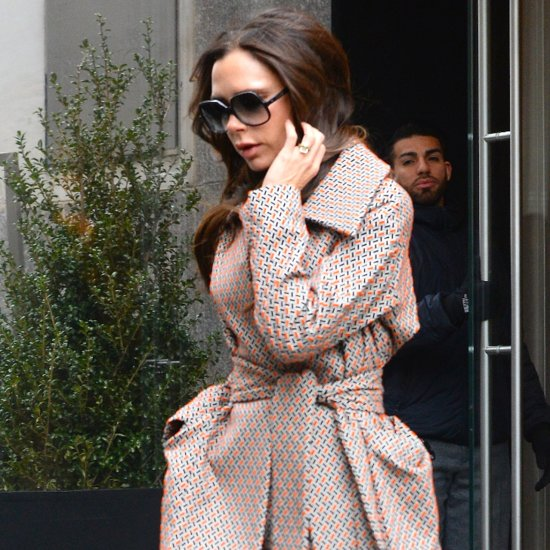 Victoria Beckham's Patterned Suit February 2016