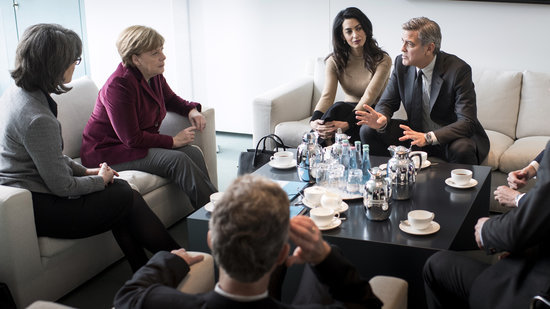 George and Amal Clooney Meet With German Chancellor to Help Syrian Refugees