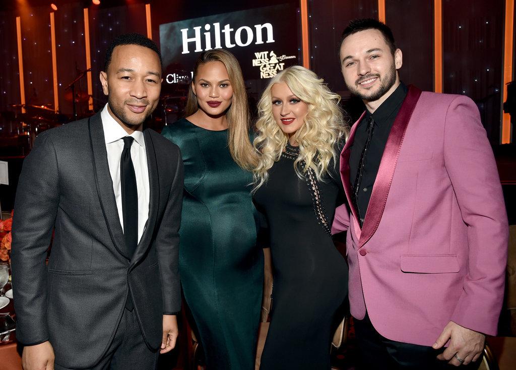Pictured: John Legend, Christina Aguilera, Chrissy Teigen, and Matthew Rutler