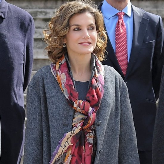 Queen Letizia Wearing Colorful Scarf March 2016