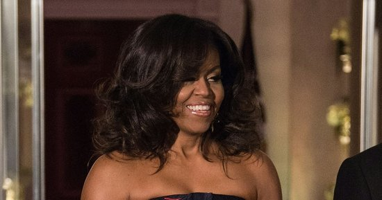 Michelle Obama Wows In A Strapless, Floral Gown At State Dinner For Canada's Justin Trudeau