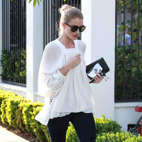 Rosie Huntington Whiteley Wearing Jeans and White Blouse